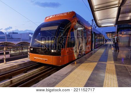 ANTALYA, TURKEY - OCTOBER 1, 2017: Modern tram on the station Airport of light rail line Antray. Antray was opened in 2009 and extended in 2016
