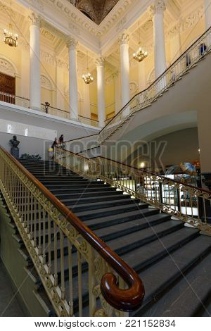 ST. PETERSBURG, RUSSIA – APRIL 24, 2017: Main staircase of the Russian Museum. It's the widest museum of Russian art in the world