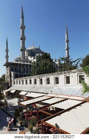 ISTANBUL, TURKEY – OCTOBER 13, 2017: Sultan Ahmet Mosque viewed from East. Also known as Blue Mosque, it was completed in 1616