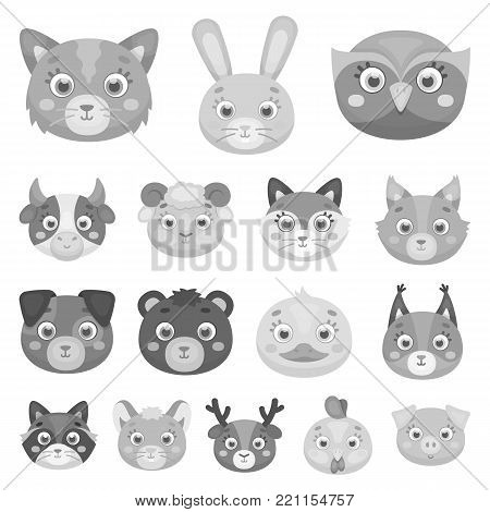 Muzzles of animals monochrome icons in set collection for design. Wild and domestic animals vector symbol stock  illustration.