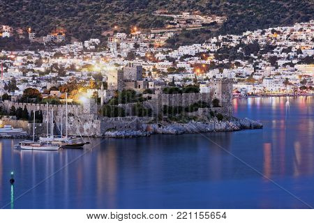 BODRUM, TURKEY - APRIL 15, 2014: Night view to the St. Peter's castle. Built in XV century, now the castle housed the Museum of Underground Archeology