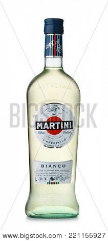 Samara, Russia - January 2018. Product shot of  italian vermouth Martini bottle isolated on white