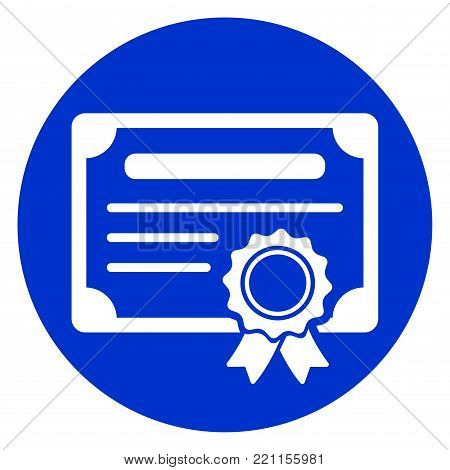 Illustration of certificate blue circle icon concept
