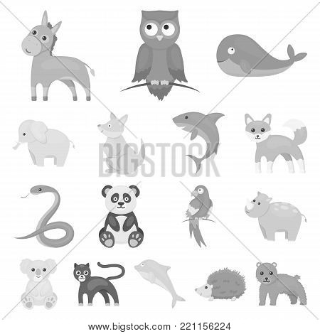 An unrealistic animal monochrome icons in set collection for design. Toy animals vector symbol stock illustration.