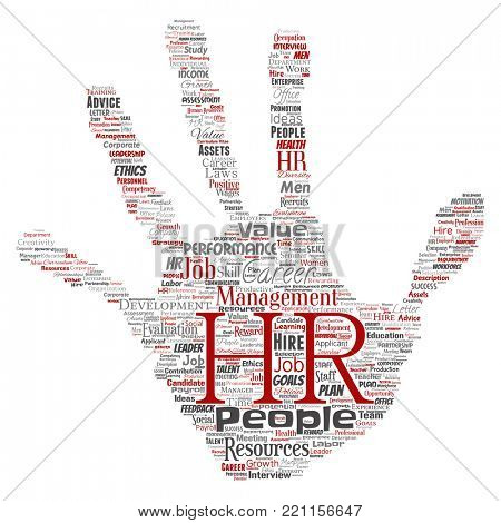 Concept conceptual hr or human resources career management hand print stamp word cloud isolated background. Collage of workplace, development, hiring success, competence goal, corporate or job