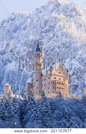 Neuschwanstein Castle during sunrise in winter landscape. Germany
