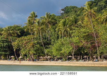 Koh Chang, Thailand - March 18, 2017: Palm trees on beautiful tropical beach on Koh Chang island in Thailand