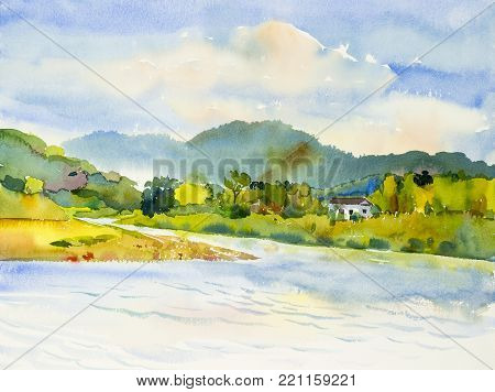 Watercolor landscape original painting colorful of home with river and mountain forest in beauty nature spring season. Painted impressionist, illustration image