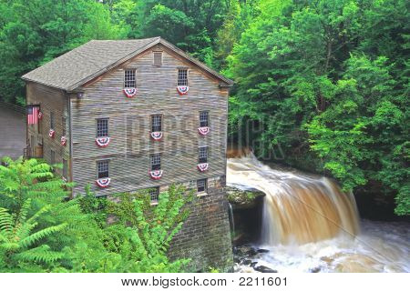 Old  Grain Mill And Water Fall