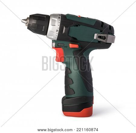 Cordless screwdriver on a white background
