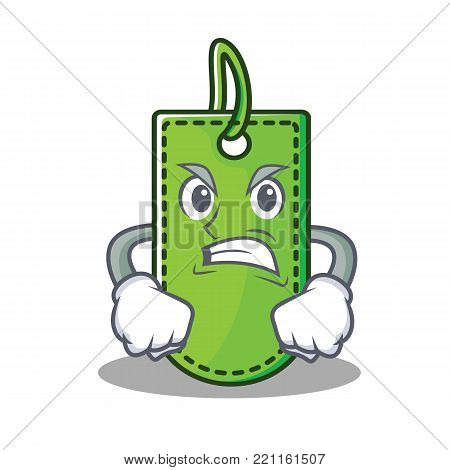 Angry price tag mascot cartoon vector illustration