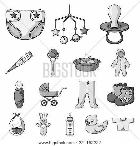 Birth of a baby monochrome icons in set collection for design. Newborn and accessories vector symbol stock  illustration.