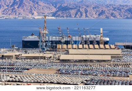 EILAT, ISRAEL - JANUARY 04, 2018: Marine cargo commercial port in Eilat that is the southernmost marine port in Israel with exit to the Indian ocean and Far East