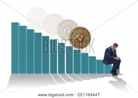 Businessman sad about bitcoin price crash