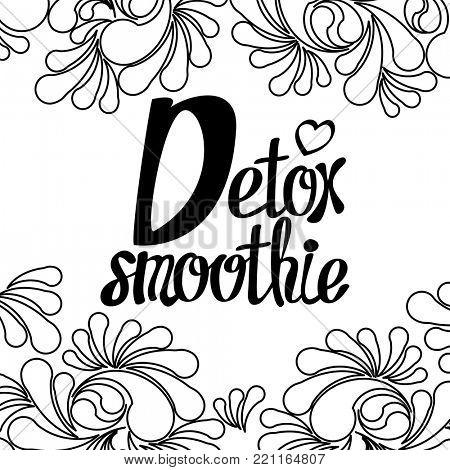 Calligraphy lettering for eco, bio, good, green, natural, fresh, vegan, detox, organic energy smoothie.