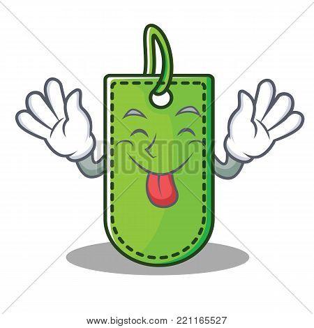 Tongue out price tag mascot cartoon vector illustration