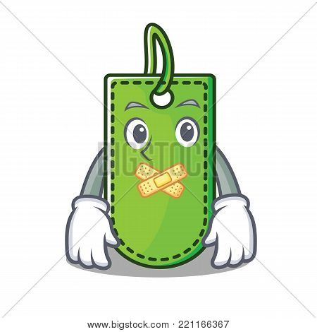 Silent price tag mascot cartoon vector illustration