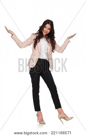 excited business woman takes a bow and welcomes on white background