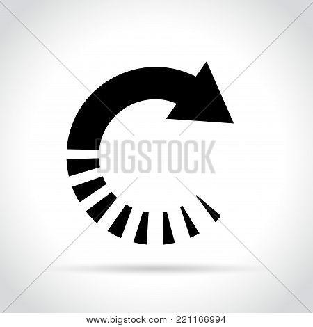 Illustration of circle arrow icon on white background