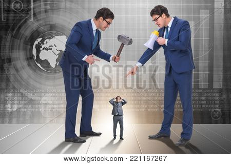 Bad angry boss harassing employee in business concept