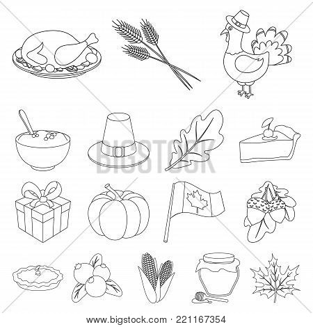 Canada Thanksgiving Day outline icons in set collection for design. Canada and Tradition vector symbol stock  illustration.