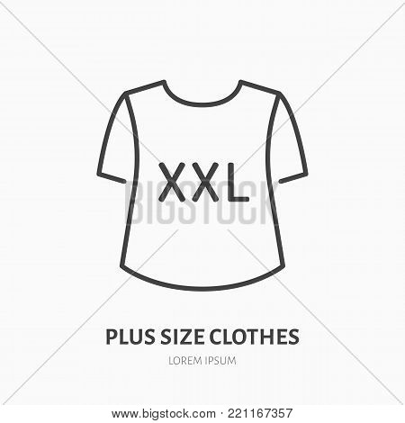 Plus size clothes store flat line icon. Women XXL apparel, large t-shirt sign. Thin linear logo for clothing shop.