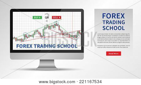 Forex Trading School vector illustration. Stock market strategies and online trading candlestick chart on desktop computer concept. Online forex trading education graphic design.