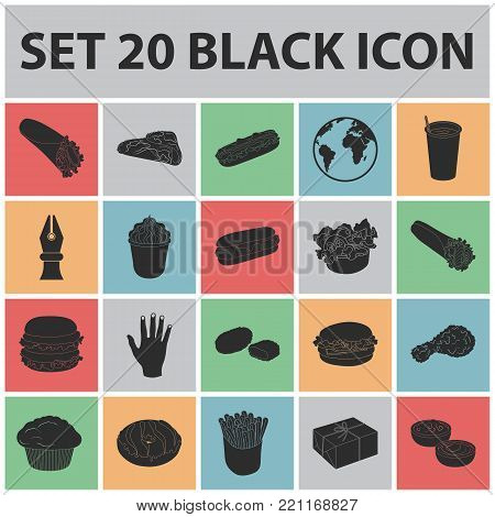 Fast food black icons in set collection for design.Food from semi-finished products vector symbol stock  illustration.