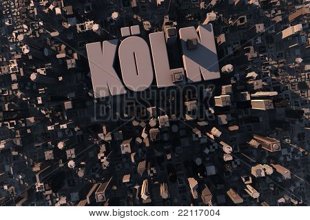 Top View Of Urban City In 3D With Name Köln