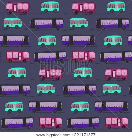 Cute cartoon seamless pattern with buses on the night road. Nice hand drawn kids pattern with doodle buses on the road with straight and dashed stripe for textile, wrapping paper, cover, background