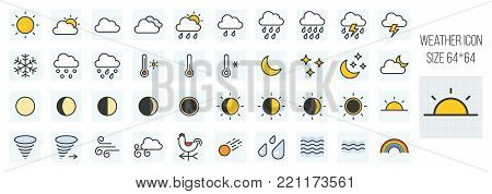 weather forecast filled line icons set in grid system with elements such as rooster weather vane, rainbow, thermometer, wave sign, humidity sign, eclipse lunar and sun, storm, meteor