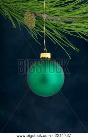 A Green Hanging Christmas Ornament