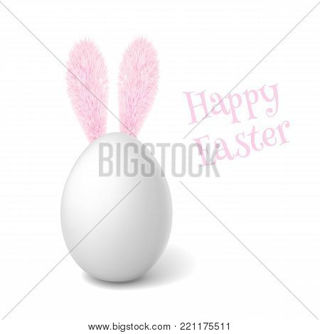Vectro realistic 3d chicken egg with white eggshell. Eeaster spring holiday poster, banner, advertising design with pink rabbit, bunny ears. organic raw natural farm product. Isolated illustration