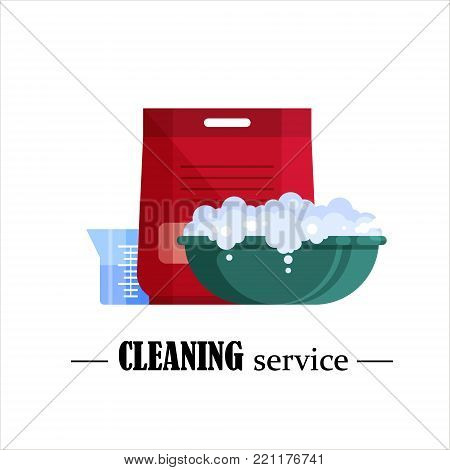 Cleaning service. Flat plastic basin with soap foam, powder and beaker isolated on white background. Washbowl with suds, household cleaning equipment for washing vector illustration.