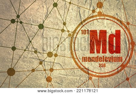 Mendelevium chemical element. Sign with atomic number and atomic weight. Chemical element of periodic table. Molecule And Communication Background. Connected lines with dots.