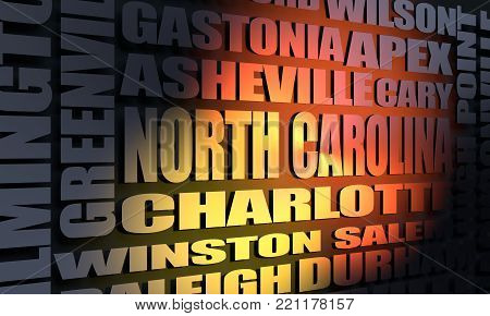 Image relative to USA travel. North Carolina cities and places names cloud. 3D rendering