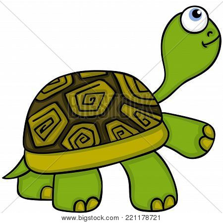 Scalable vectorial representing a animal cute turtle, illustration isolated on white background.