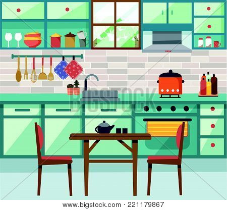 Interior kitchen background with dining table in flat style design, illustration