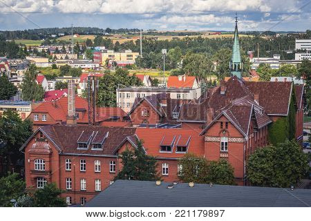Hospital in Gizycko, view from lookout tower, Masuria region of Poland