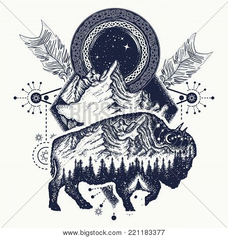 Bison and mountains t-shirt design, tattoo. Bison double exposure, mountains, crossed arrows. Tourism symbol, adventure, great outdoor. Buffalo silhouette t-shirt design tribal art poster