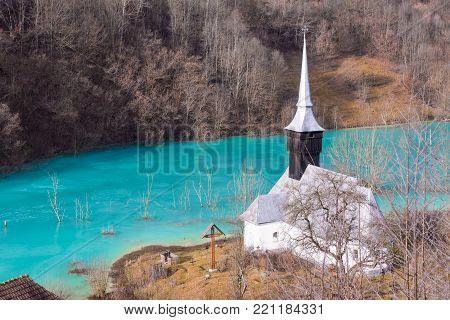 Drowned Church At Geamana Lake Near Gold Mine