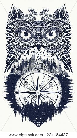 Owl and compass tattoo art. Owl in ethnic celtic style t-shirt design. Owl tattoo symbol of wisdom, meditation, thinking, tourism, adventure