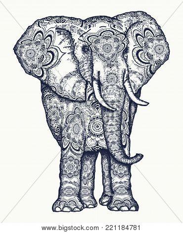 Elephant tattoo. Decorative colorful elephant sacral ornament. Symbol of meditation, love, freedom, spiritual search. Boho elephant tattoo and t-shirt design