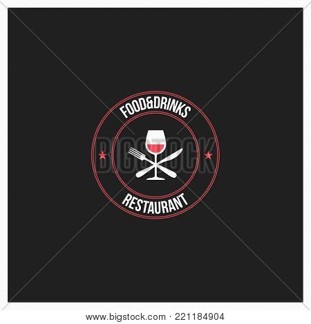 food and drinks logo. wine glass with fork and knife on black background 10 eps