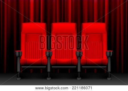 Cinema show design with red empty seats. Poster for concert, party, theater. Chairs for cinema theater. vector illustration EPS 10
