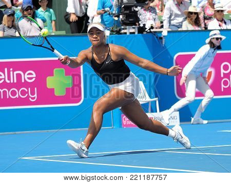 Melbourne, Australia - January 9, 2018: Tennis player Destanee Aiava preparing for the Australian Open at the Kooyong Classic Exhibition tournament