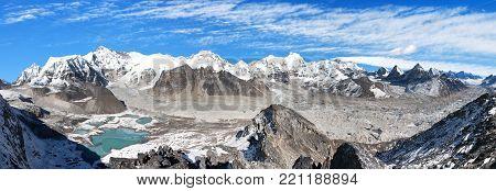 Beautiful panoramic view of Mount Cho Oyu and Cho Oyu base camp, mountain lakes, Everest, Lhotse, Gyachung Kang, Ngozumba and Gyazumba glaciers - Sagarmatha national park, Khumbu valley, Nepal