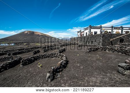 Lanzarote, Canary Islands, Spain - 31 March 2015:vineyards and wine tasting restaurant near mountains in Lanzarote, Canary Islands, Spain
