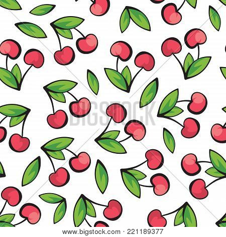 Ripe and juicy cherries on white background pattern. Juicy cherries isolated on white background pattern vector