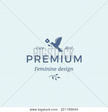 Premium Quality Feminine Abstract Vector Sign, Symbol or Logo Template. Bird holding a Flower with Modern Typography. Good for Beauty Salon, SPA, Wedding and Bouquets Boutiques, etc. Isolated.